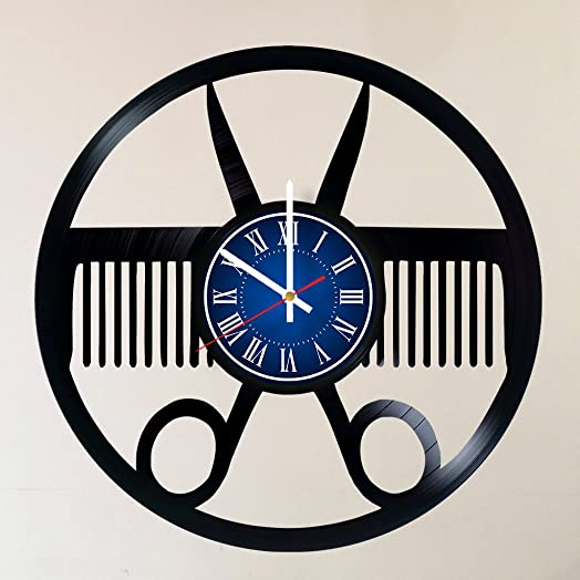 MY GIFT STORE Barber Shop BEAUTY SALON 12 INCH 30 CM VINYL RECORD WALL CLOCK Unique Art Design of BEAUY SALON GIFT FOR Barbers – Gift idea for children, teens, adults salon Hairdresser Hairstyles