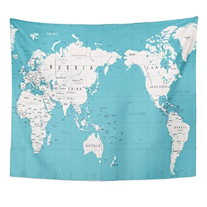 Outline Map Of Asia Political.Amazon Com Emvency Decor Wall Tapestry Blue Outline Vintage