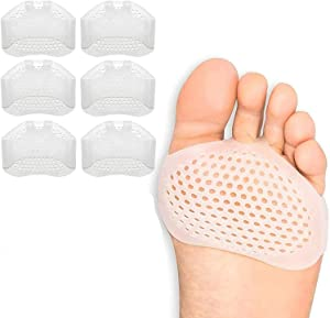 GiWuh Metatarsal Pads Pads 3 Pairs Foot Cushions for Women and Men Ball of Foot Cushions Inserts Metatarsal Pads Reusable Gel Foot Cushion Cushions for Runners, Pain High Heels, Dancers, Sports