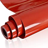 """YENHOME 24"""" x 118"""" Glossy Red Removable Self Adhesive Contact Paper for Cabinets DIY Wall Decals Waterproof Peel and Stick Wallpaper for Wardrobe Furniture Door Table Cover Shelf Liner"""
