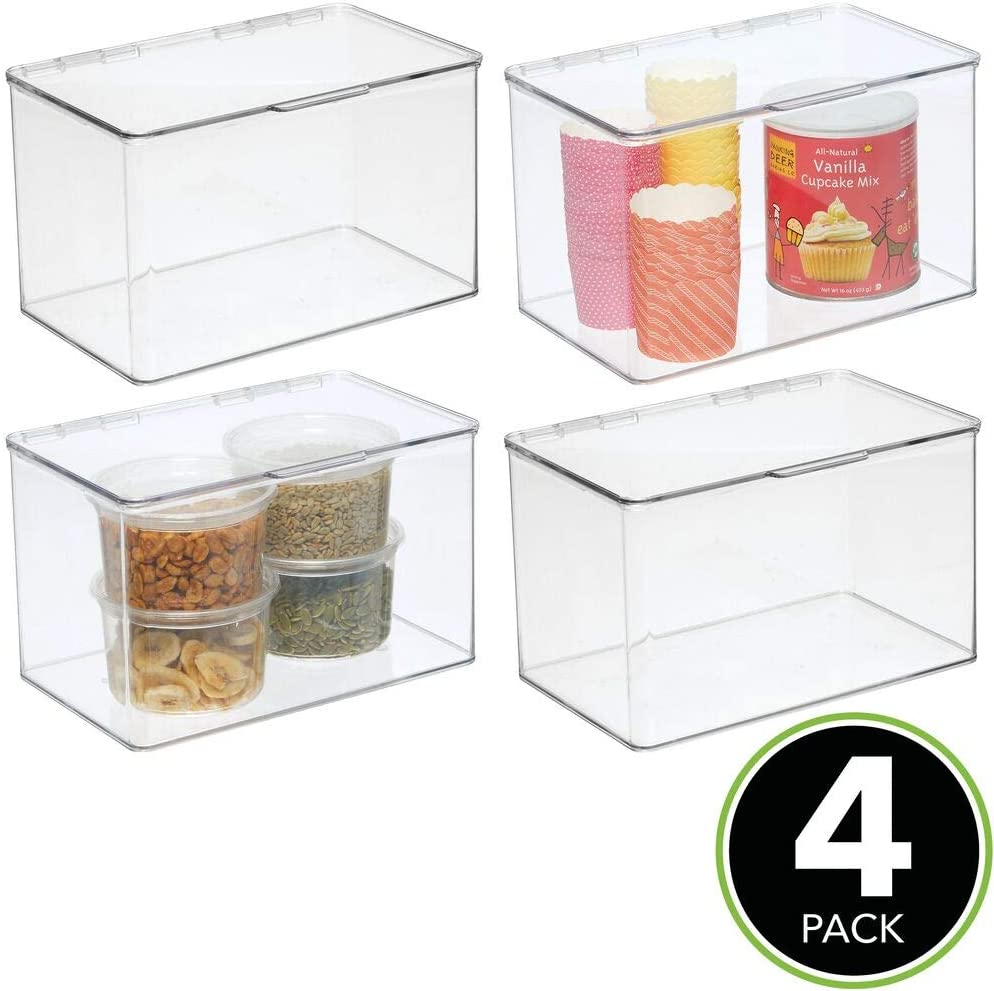 Cajas organizadoras de pl/ástico inocuo para cocina y despensa transparente mDesign Juego de 2 cajas de nevera Recipiente para guardar alimentos con tapa con bisagras