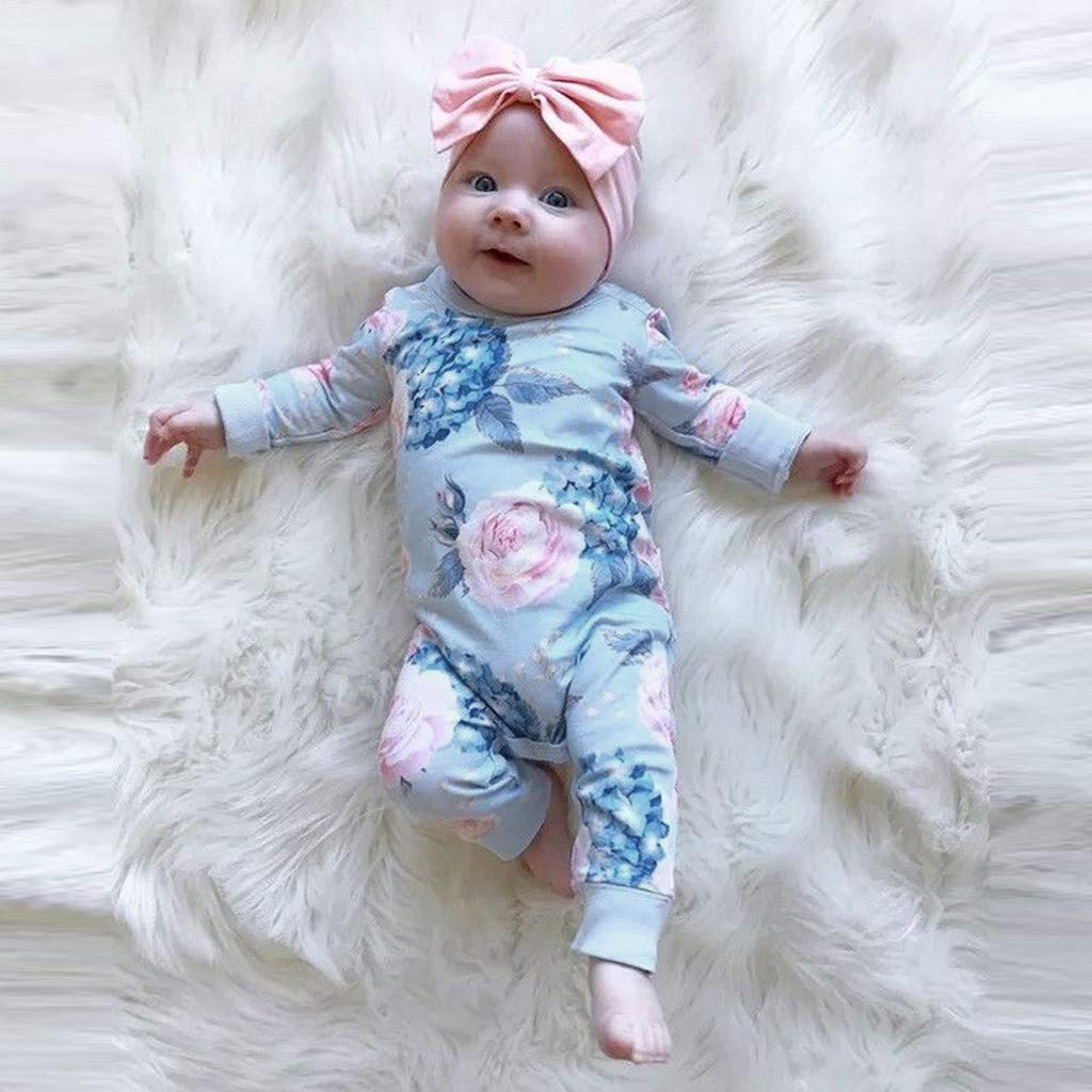 RQWEIN Newborn Girl Clothes Infant Bodysuit from Soft Viscose from Bamboo Floral Romper Jumpsuit