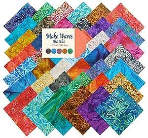 Make Waves Batiks Charm Pack, Set of 42 5-inch Precut Cotton Fabric Squares (4330PP)