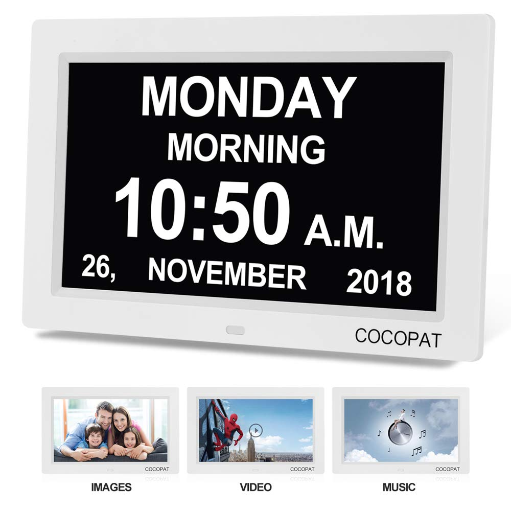 Digital Clock Large Display for Seniors - Newest Version 9'' Led Dimmable Impaired Vision Digital Clock with USB Charger Port, SD Card Support Play Picture, Video, Perfect for The Elderly by Cocopat (Image #1)