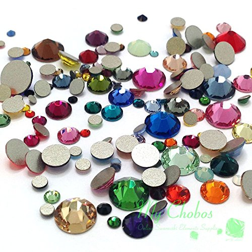 (Mixed Sizes & Colors 144 pieces Swarovski 2058/2088 Crystal Flatbacks rhinestones nail art mixed with Sizes ss5, ss7, ss9, ss12, ss16, ss20, ss30)