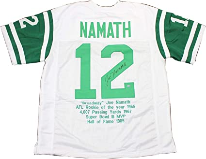 9324c40e3bb Joe Namath Autographed Signed White New York Jets Jersey With Stats ...
