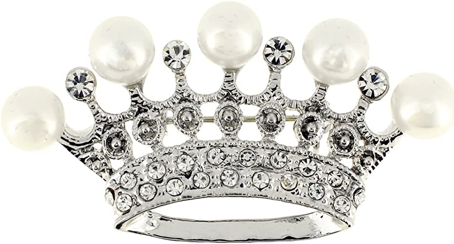 Fantasyard Silver Crown Pearl Brooch Pin