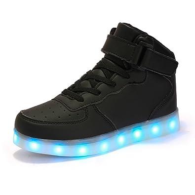 1f3e6ad9e6f3d9 AFFINEST Jungen LED Schuhe Leuchtschuhe Verbesserung USB Aufladen 7 Farbe  Blinkende Light Up Hoch Oben Sneakers