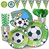 DuoCute Soccer Party Supplies Sports Themed Pack Children's Birthday Party Supply Set 12 Guests/ 86 Pieces Bonus Tablecloth(Cups Forks Spoons 9''&7'' Plates Napkins Drinking Straws Triangle Banner)