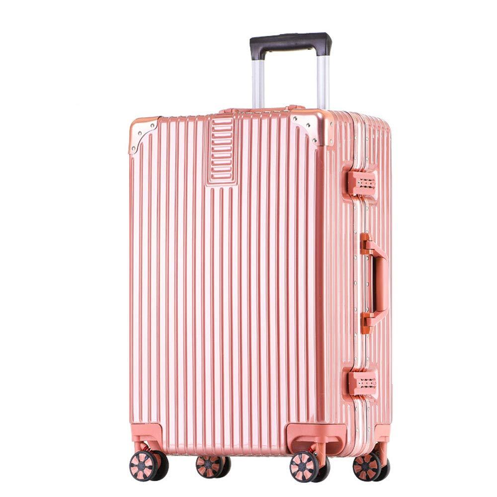 トロリーケース - ABS/PC、内蔵パスワードロック、快適なハンドル、スタイリッシュで小さくて鮮やかなアルミフレームキャスター学生大容量スーツケース - 5色、2サイズ利用可能 (色 : ローズゴールド, サイズ さいず : 36.5*23.5*50.5cm) 36.5*23.5*50.5cm ローズゴールド B07MTD8MH1