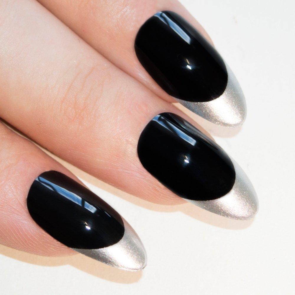 Amazon.com : Bling Art Stiletto False Nails Fake Acrylic Black White ...