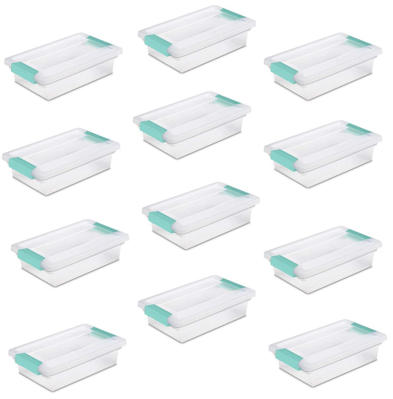 Sterilite 19618606 Small Clip Box Clear Storage Tote Container w/Lid (12 Pack) by STERILITE