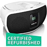 (Renewed) Philips AZ390W Sound Machine Boombox (Black and White)