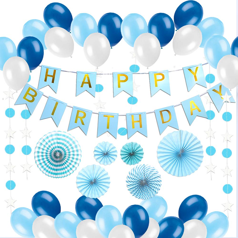 Birthday Decorations Blue Happy Party Supplies Set Best All In One