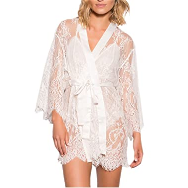 NEW DANCE Women's Lace Lingerie Robe Floral Sheer Lace Bridals Nightwear