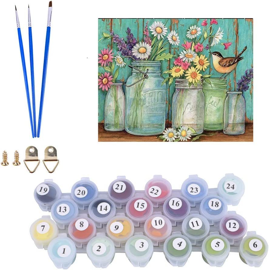 Karyees Daisy 16x20In Paint by Numbers Kits Daisy DIY Painting by Numbers Daisy DIY Canvas Painting by Numbers Acrylic Painting Kits Home Wall Decor Paint by Number for Beginner Daisy Flower