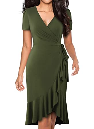 0d726a75c052 BOKALY Wedding Guest Dresses for Women Fit and Flare Ruffles Stretchy Army  Green Summer Sheath Business