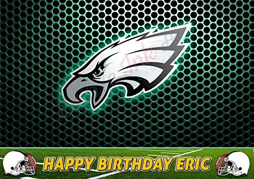 Philadelphia Eagles NFL Edible Cake Topper Personalized Birthday 1/2 Size Sheet Decoration Party Birthday Sugar Frosting Transfer Fondant Image -