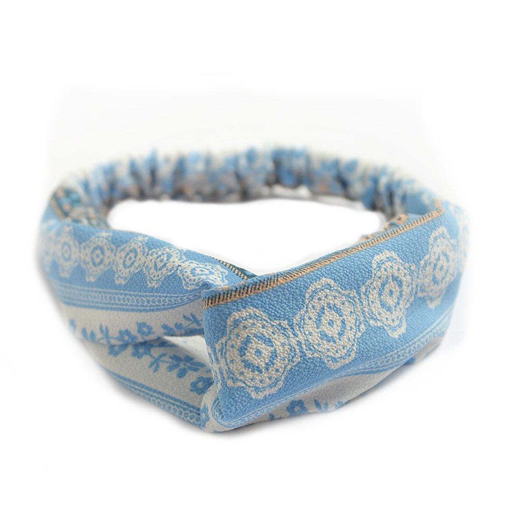 Meigold Bandeau élastique pour Cheveux pour Filles et Cheveux Motif Croix Bleu et Blanc F Azul Oscuro
