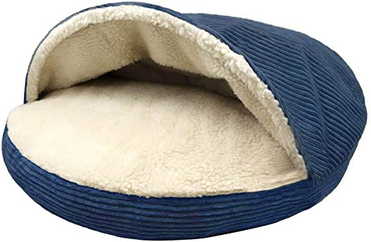 Precious Tails Cozy Corduroy and Sherpa Lined Pet Cave Bed 35inch in Navy