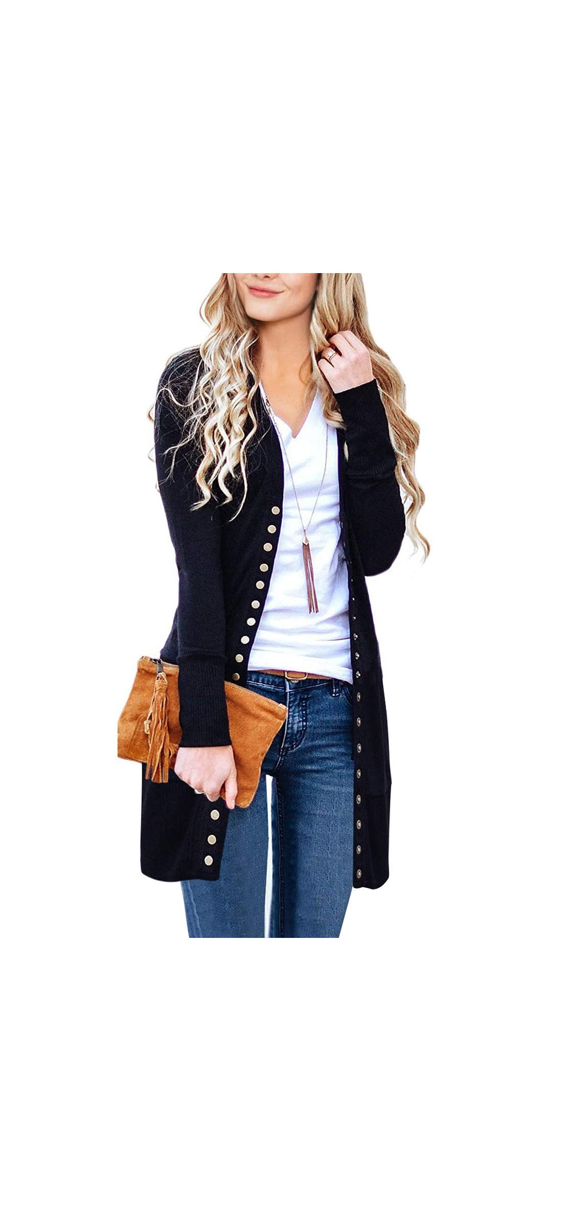 Women's Long Sleeve Snap Button Down Solid Color Knit