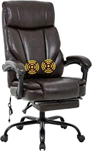 BestOffice Desk Computer Lumbar Support Armrest Foot Rest Rolling Swivel Massage Ergonomic PU Leather Task Chair for Men, Brown