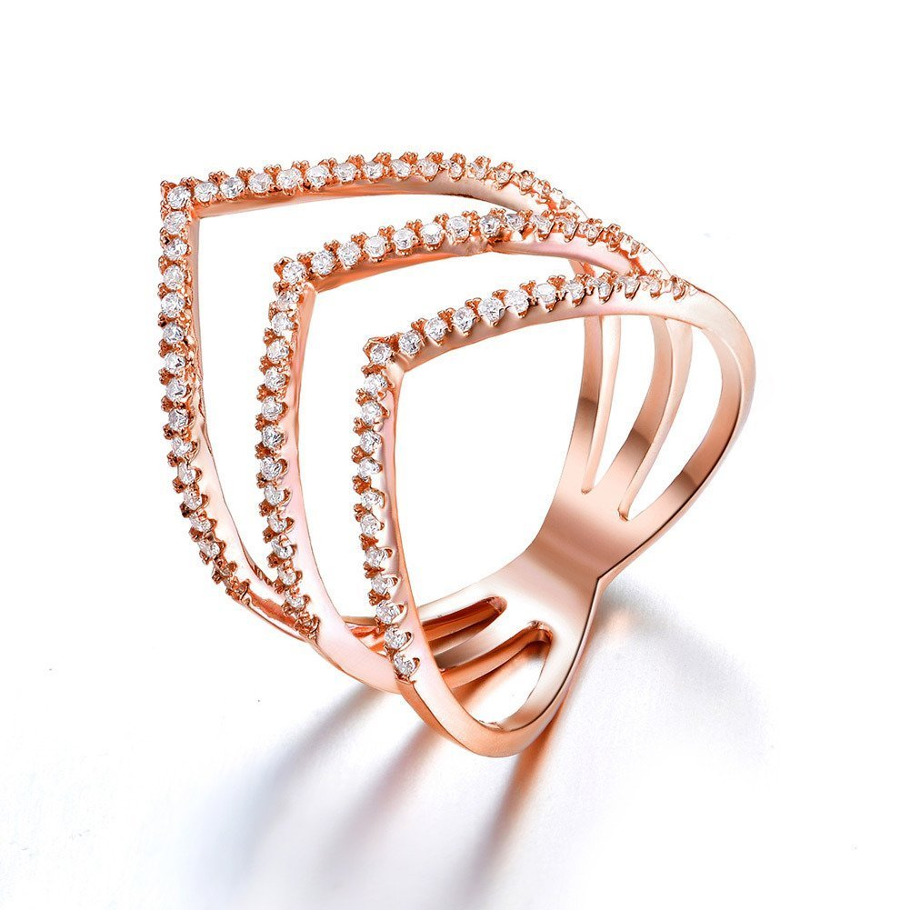 Redbarry Triple V Shaped Rings with Micro CZ Stones Paved in 18k Rose Gold Plated, Size 8