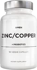 Zinc & Copper Supplement + Probiotics – 3 Months Supply – One Per Day - 50 mg Zinc Picolinate Vitamin Pills - Essential Minerals Supplements – 2 Billion CFUs Probiotic – Vegan, Non-GMO - 90 Capsules