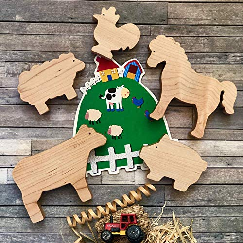 Farm Early Childhood Game - Farm Friends Play Set, Organic Maple wooden toy.