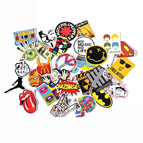NAVAdeal Assorted 30 Pack Rock N Roll Music Band Vinyl Suitcase Skateboard Laptop Car Bumper (Roll Band)