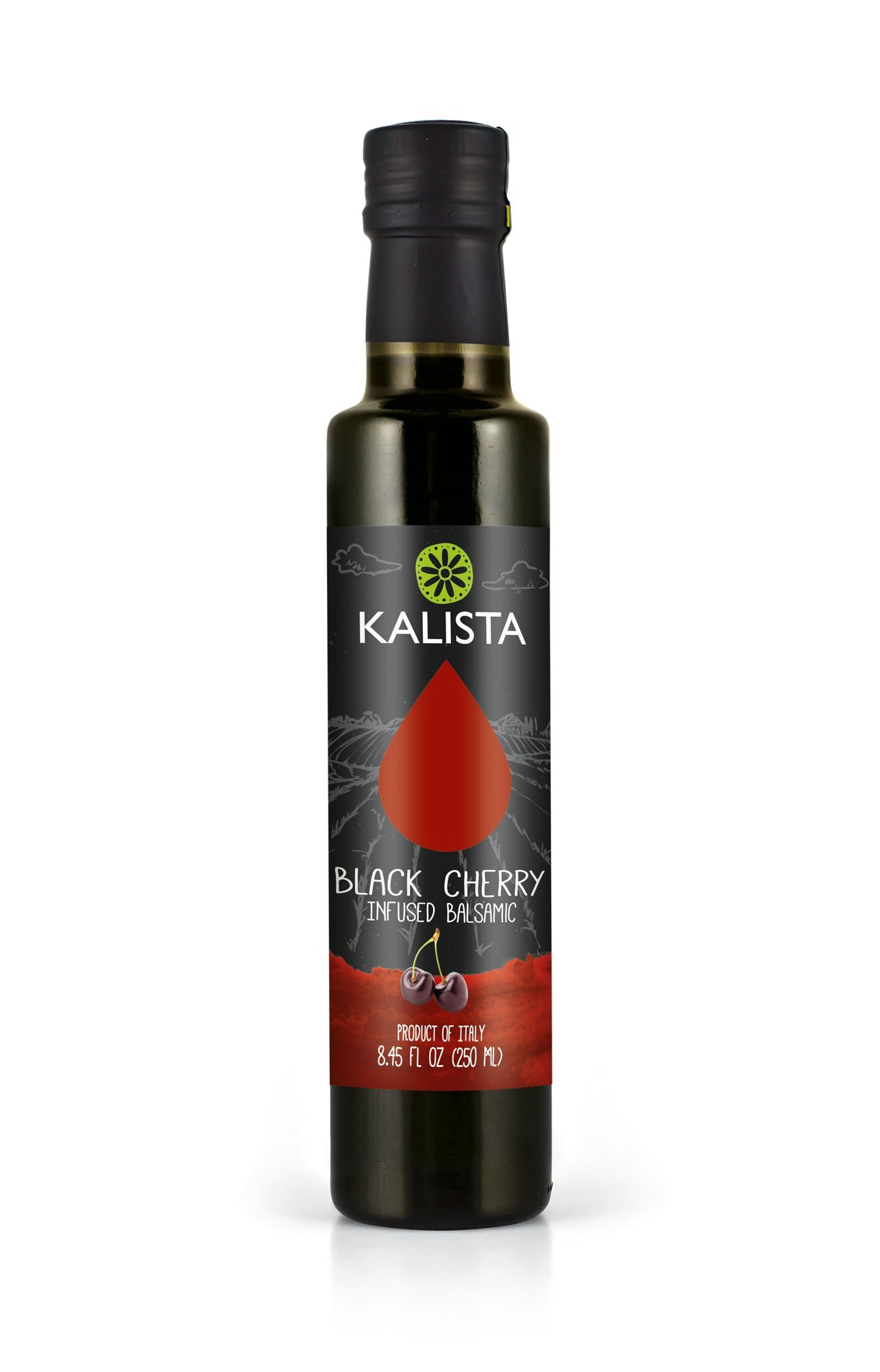 Kalista Black Cherry Balsamic Vinegar, Black Cherry Balsamic, 8.45 Fluid Ounce 1 No Added Sugars Pairs perfectly with Kalista Extra Virgin Olive Oil & Kalista Lemon Olive Oil Great to use for finishing dishes, cheeses, salads, vegetables, ice cream & plain yogurt