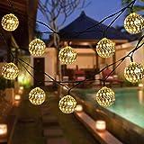 Globe String Lights, CMYK 20 Ft 40 Balls Waterproof LED Fairy Lights, Outdoor Starry Lights Solar Powered String Lights…
