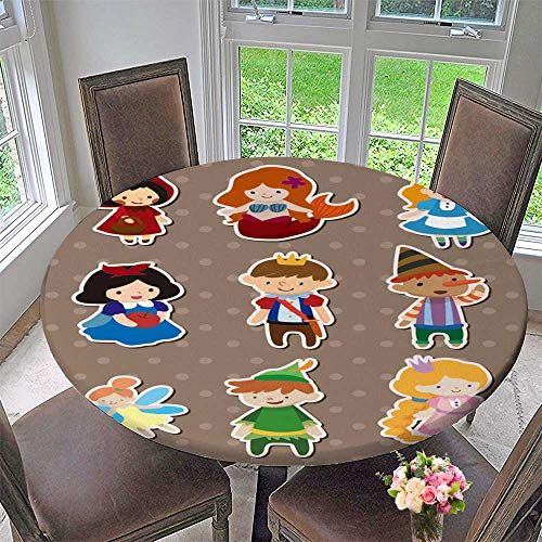 PINAFORE HOME Round Table Tablecloth Story People Stickers for Wedding Restaurant Party 55