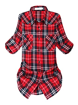 11c1c8f7e Jessie Kidden Womens Boyfriend Lumberjack Flannel White Cotton Blouses  Button Down Shirt #7056 G001-