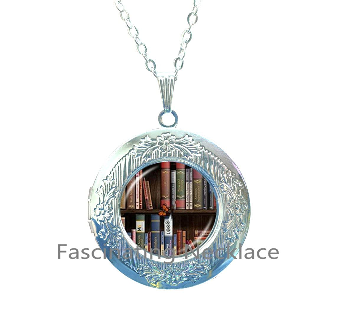 Library Book Locket Necklace Gifts for Librarians Writers Bibliophile Book Lover English Major Teacher Author Editors Bookworms Club,AQ176