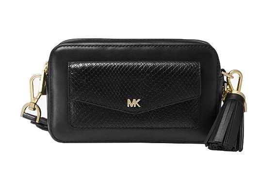 e4f386e1a97a Amazon.com  Michael Kors Small Leather Camera Crossbody Bag (Black ...