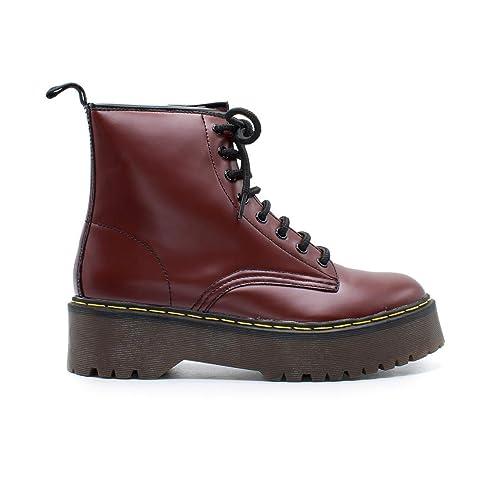 269a26853 Zapshop C8655 Bota Militar con Cordones de Plataforma de Color Burdeos para  Mujer  Amazon.es  Zapatos y complementos