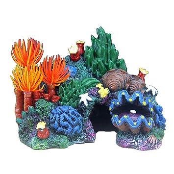 DIAMOEN Coral Artificial Caracola de rocalla Resina Fish Tank decoración de acuarios de Agua Paisaje Falso césped Ornamento acuática: Amazon.es: Hogar