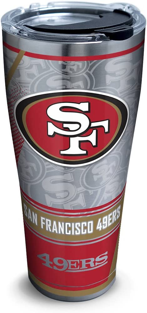 Tervis 1266693 NFL San Francisco 49ers Edge Stainless Steel Tumbler with Clear and Black Hammer Lid 30oz, Silver
