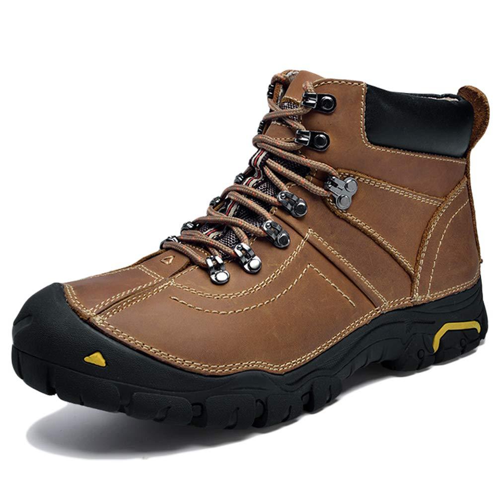 Qianliuk Herrens Wanderschuhe Winter Outdoor Rutschfeste Pelz Klettern Schuhe High-Top Leder Berg Turnschuhe Herren warme Trekking Schuhe