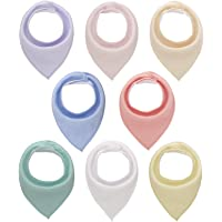 Bandana Snap Drool Bibs for Baby Girls for Drooling Eating Teething for 8 Pack