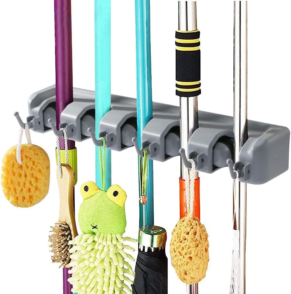 Vicloon Broom Mop Holder Tidy Organizer Wall Mounted Organizer With 5 Position 6 Hooks For Brush Mop And Broom Tool Storage Amazon Co Uk Kitchen Home