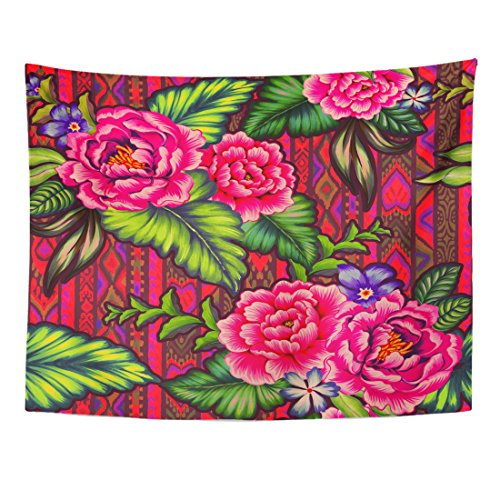 Breezat Tapestry Colorful Mexican Floral Pattern with Beautiful Folk Flowers Navajo Amazing Botanical Design Home Decor Wall Hanging for Living Room Bedroom Dorm 60x80 Inches