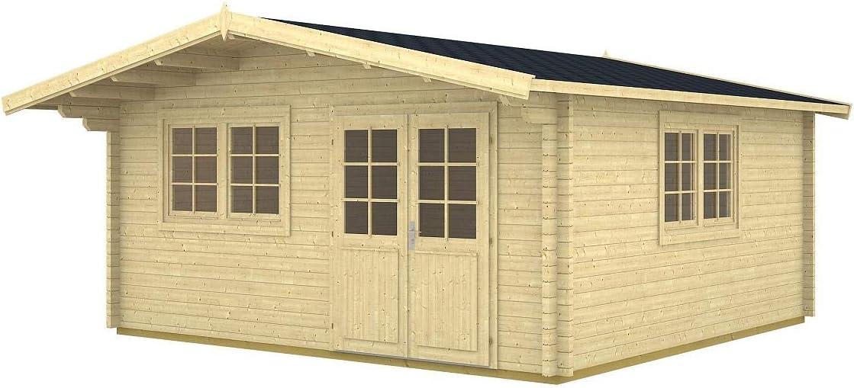 Jardín Casa Enzo D 70 ISO bloque madera casa 500 x 500 cm – 70 mm Casa de vacaciones: Amazon.es: Jardín