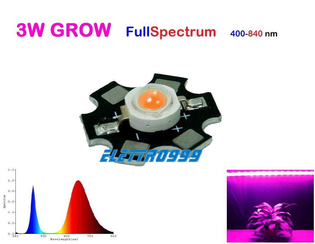 alghe Crescita vegetali piante LED 3W GROW Full-Spectrum 400-850 nm muschio