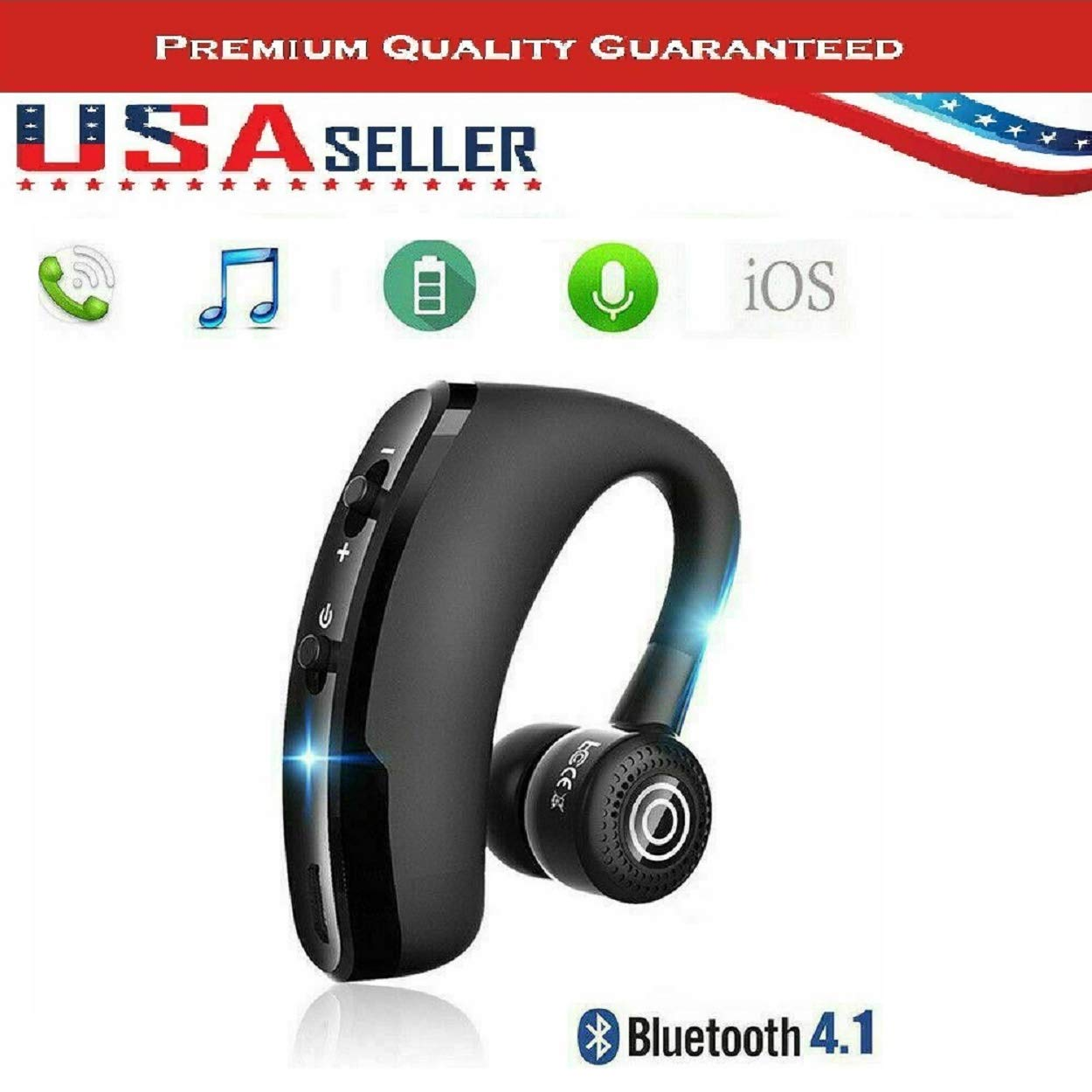 Wireless V9 Business Bluetooth CSR Headset/Earphone Voice Control V4.1 Phone Handsfree MIC Music for iPhone Huawei Samsung and Xiaomi with NFC Function