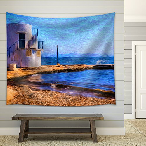Artistic View of the Traditional Fishing Village of Empoureio at Milos Island in Greece Painting Effect Fabric Wall Tapestry