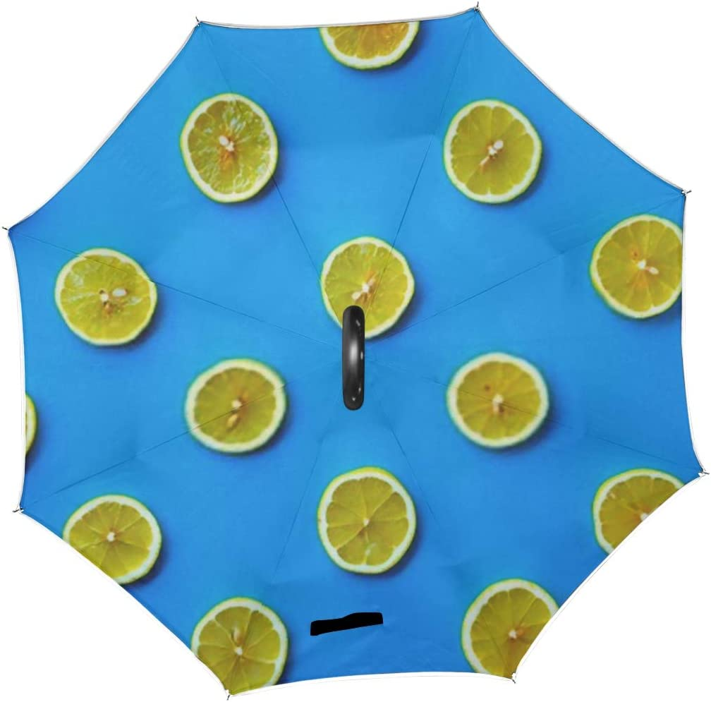 Double Layer Inverted Inverted Umbrella Is Light And Sturdy Colorful Fruit Pattern Fresh Lemon Slices Reverse Umbrella And Windproof Umbrella Edge Ni