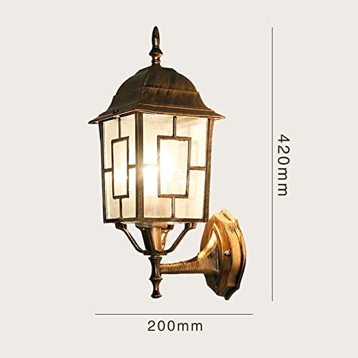 KMYX Sureste de Asia al Aire Libre Lámpara de Pared Apliques de Bronce Bohemia vidriera Jardín Exterior Impermeable Pared Linterna Entrada Frontal Patio Pasillo Pasillo Pared Lámpara de luz: Amazon.es: Hogar