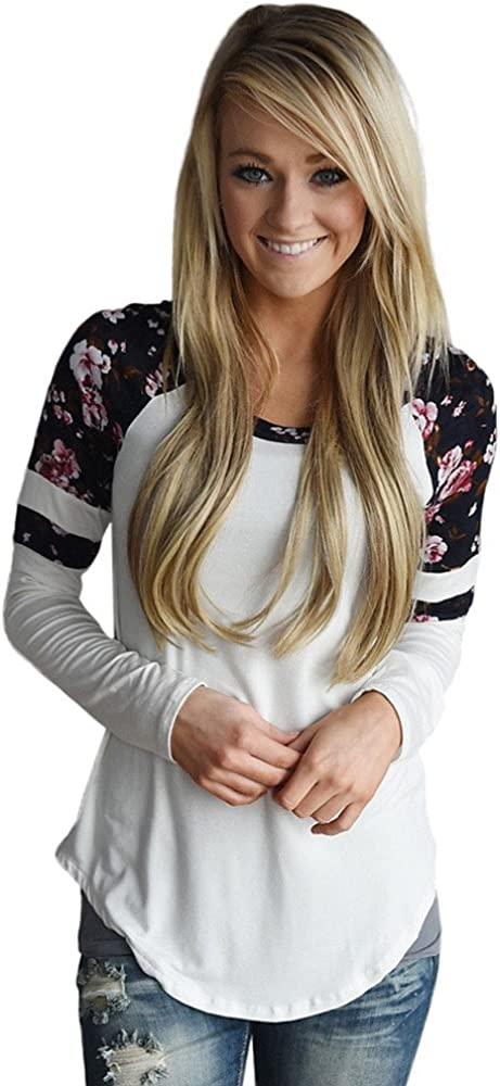 BHYDRY Donna Floreale Splice Stampa Manica Lunga Girocollo Pullover Camicetta Top T Shirt